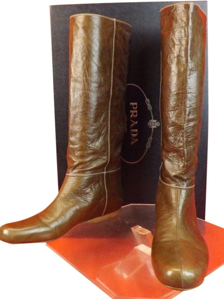 Prada Brown Distressed Leather Equestrian Riding Size Tall Boots/Booties Size Riding EU 41 (Approx. US 11) Regular (M, B) da6afb