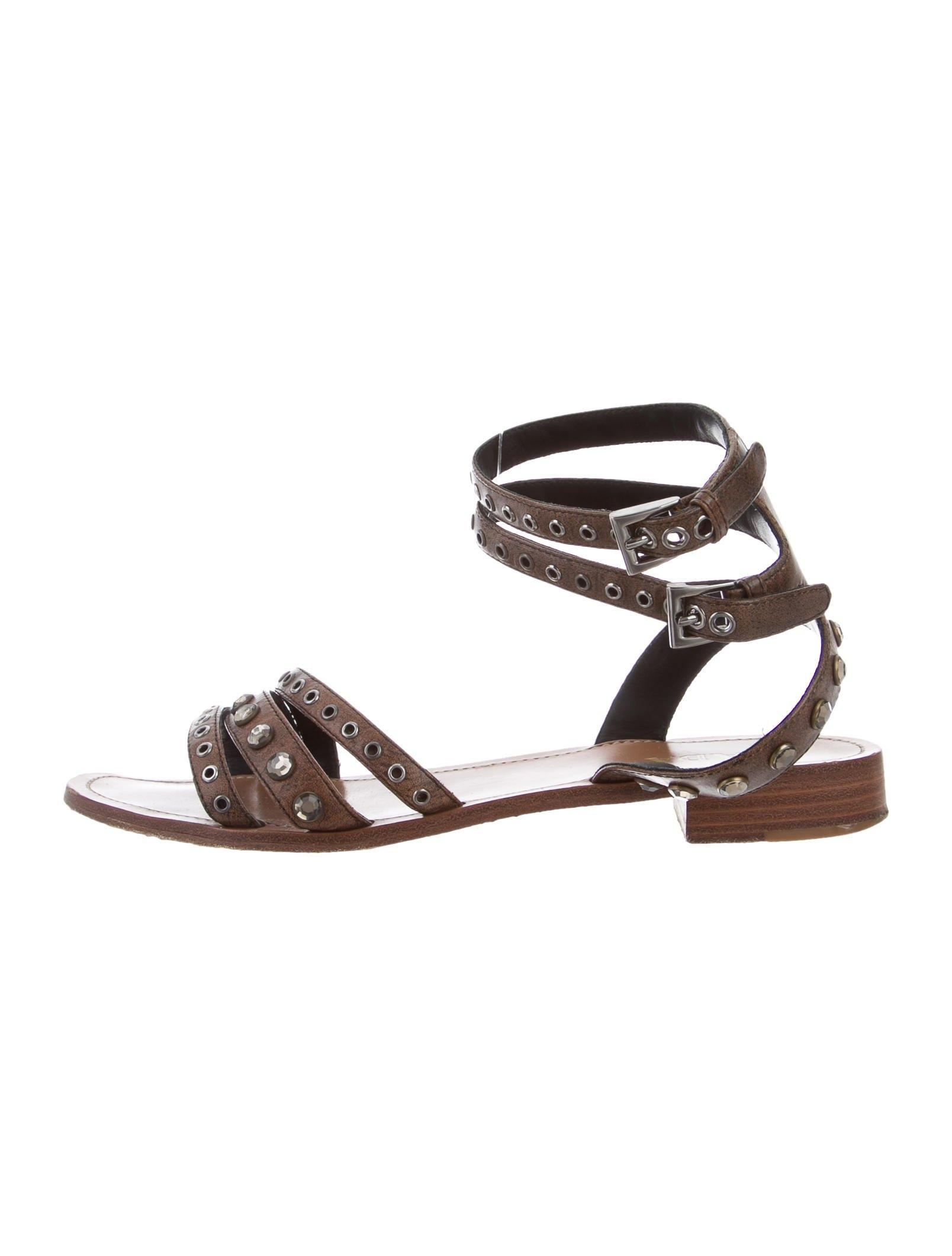 Prada Brown Embellished Ankle Strap Sandals Size EU 40 (Approx. B) US 10) Regular (M, B) (Approx. 7f24cb