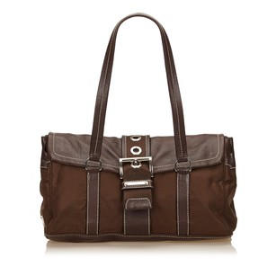 Prada Brown Fabric Leather Shoulder Bag