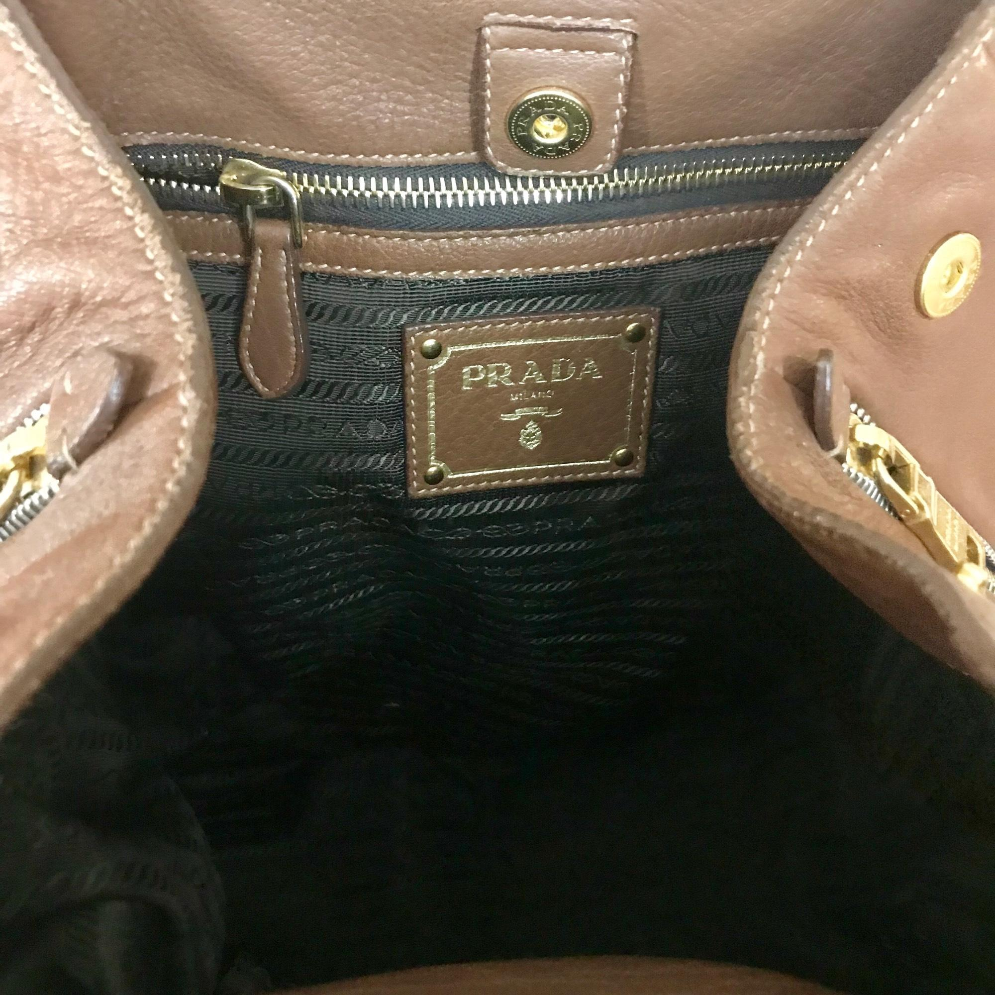 be2cfca1187a ... netherlands prada cervo expandable brown gold leather tote tradesy  070c9 ea9d9