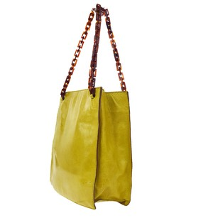 Prada Chain Hand Tote in Brown,Ocher