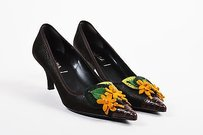 Prada Yellow Crocodile Brown Pumps