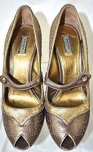 Prada Sequin Peep Brown Pumps