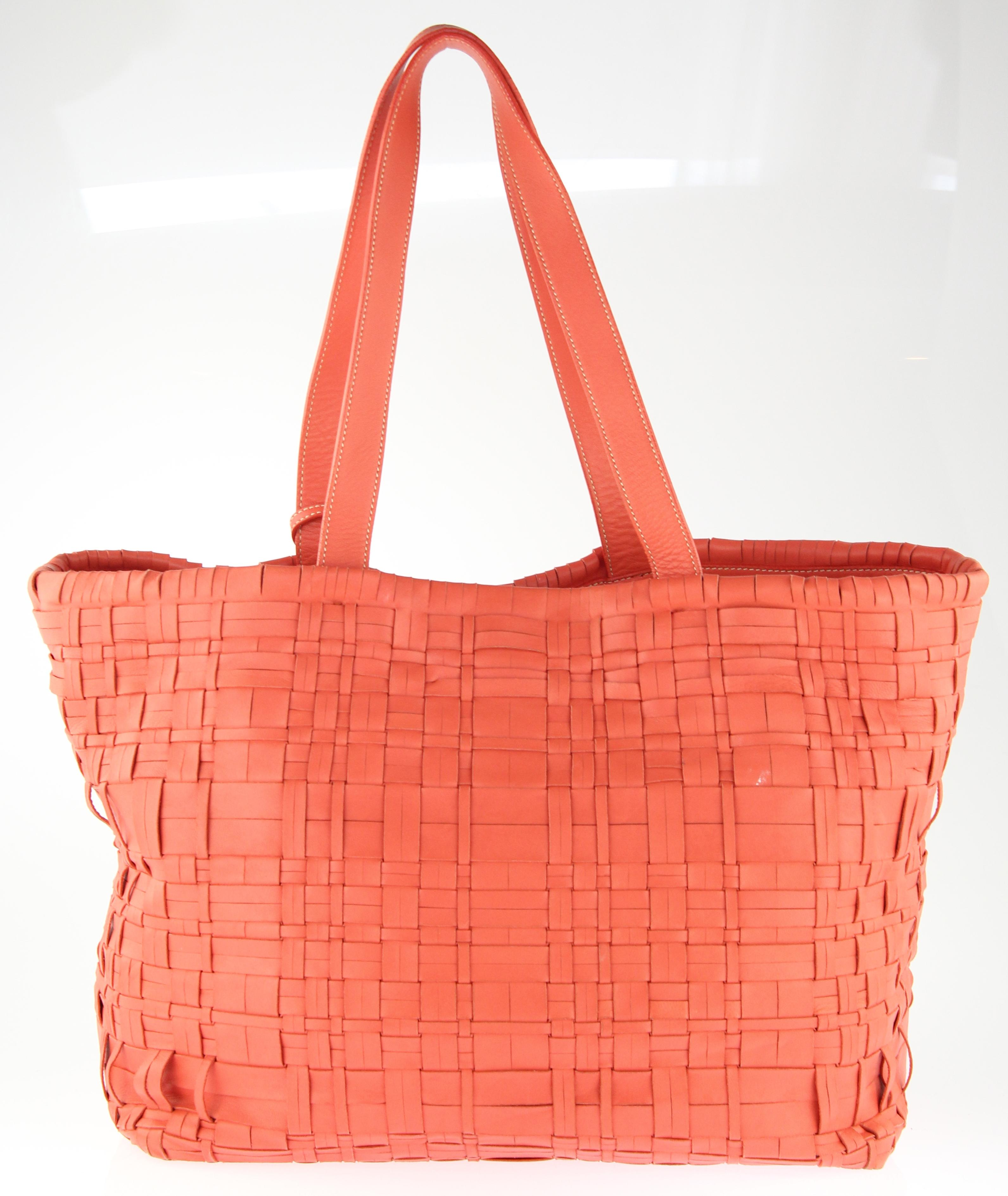 a10a80251e97e4 ... ireland prada east west woven coral leather tote tradesy ac3f5 c4f38