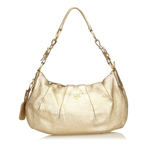 Prada Gold Leather Others Shoulder Bag