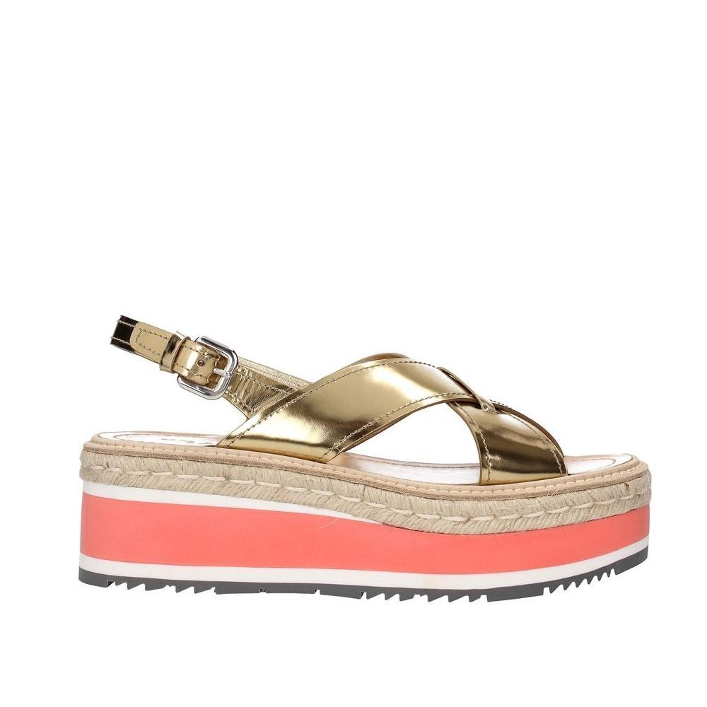 Prada Gold Leather Sandals Size EU 39 (Approx. US 9) Regular (M, B)
