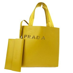 Prada Hand Leather Tote in Yellow