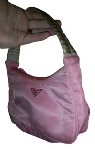 Prada Hobo Nylon Black Small Tote in Pink