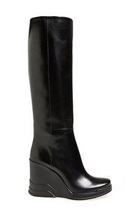 Prada Leather Partial Up Wedge Black Boots