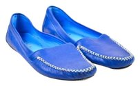 Prada Leather Moccasin Blue Flats