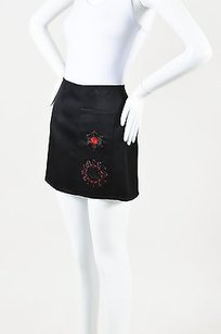 Prada Red Silk Satin Mini Skirt Black