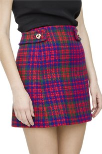 Prada Red Blue Green Plaid Tartan Print Wool Mini Dress 360xs Mini Skirt Multi-Color