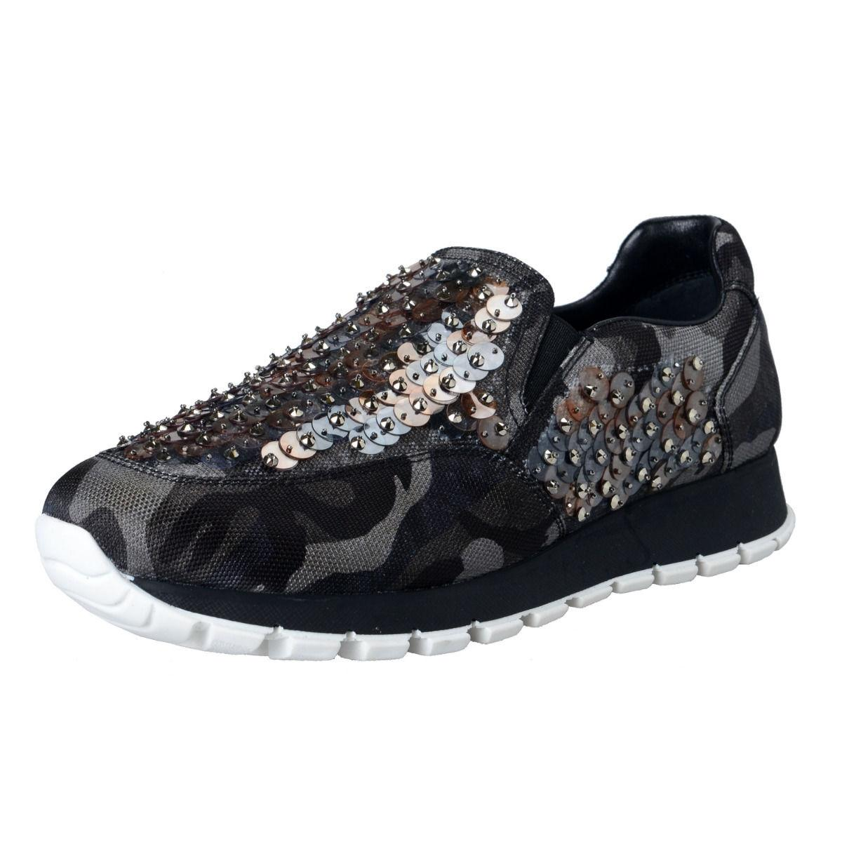 Prada Multi-color Women's Sequin Decorated Sneakers Moccasins Loafers Slip On Sneakers Decorated Size US 7 Regular (M, B) 968ebd