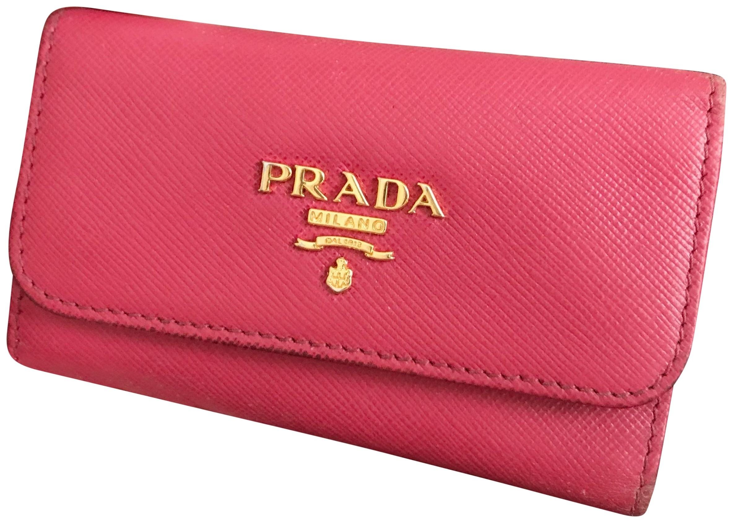 71a23f580e02 ... reduced prada prada peony pink 6 key holder wallet keychain 01ef0 3e241