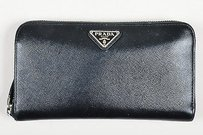 Prada Prada Black Leather Zip Continental Wallet
