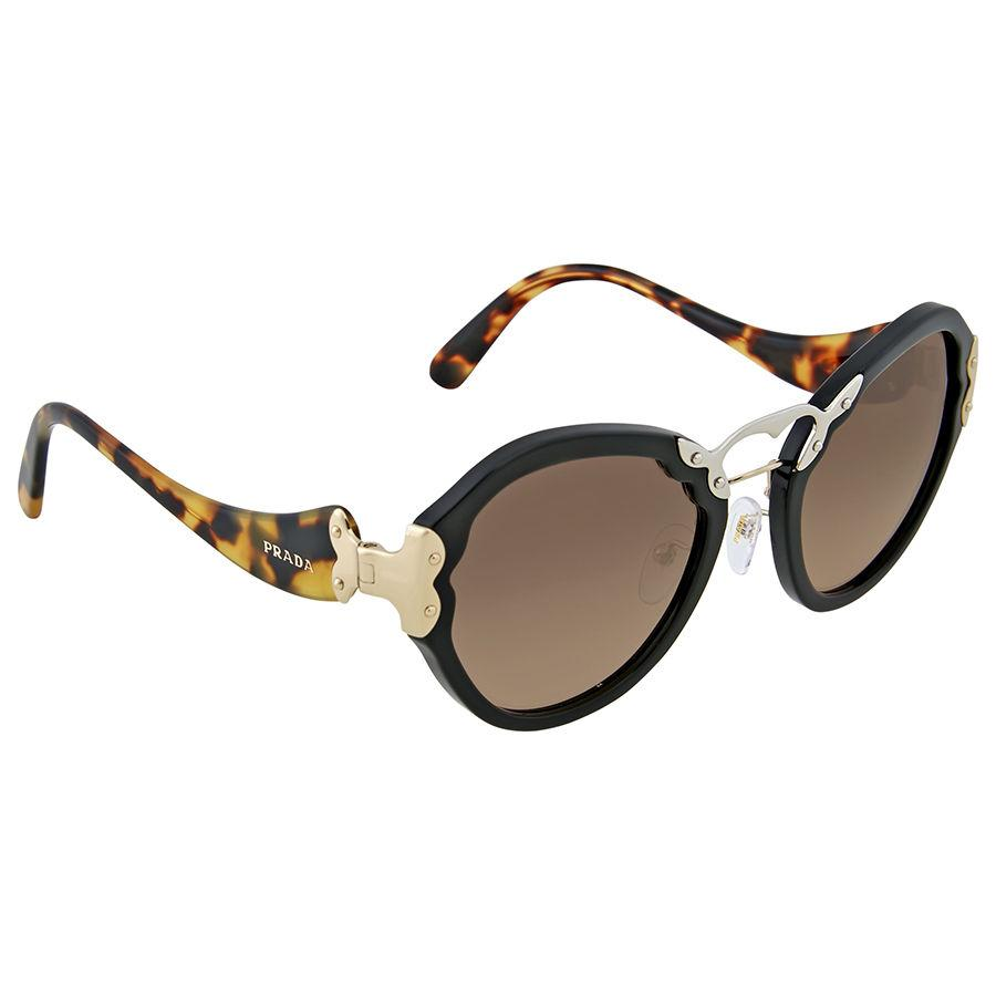 Prada PRADA Round Grey Gradient Sunglasses