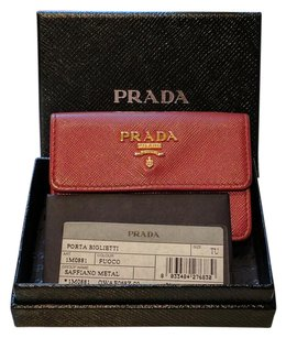 Prada Prada Saffiano Red Leather Card Holder