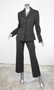 Prada Prada Womens Charcoal Wool Blend Snap-button Jacket Blazerpant Suit 4244 Us68