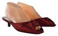 Prada Womens Satin Leather Kitten Heel Peep Toe Red Mules
