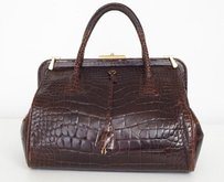 Prada Dark Glazed Satchel in Brown