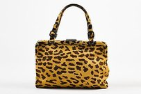 Prada Brown Tan Leopard Print Satchel in Multi-Color