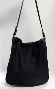 Prada Italy Tessuto Nylon Lambskin Leather Slouch Hobo Shoulder Bag