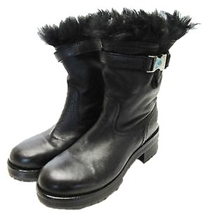 Prada Black Leather Fur Lined Brown Boots