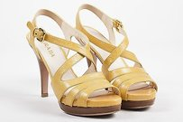 Prada Beige Yellow Leather Beige-Yellow, Brown, Gold-Tone Sandals