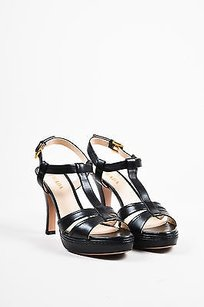 Prada Leather Platform Black Sandals