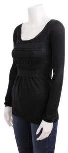 Prada Ribbed Knit Cotton Long Sleeve Ruched Dress Shirt 382s Top Black