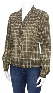 Prada Olive Grid Print Check Stitched Ruffle Button Up Shirt Top Green