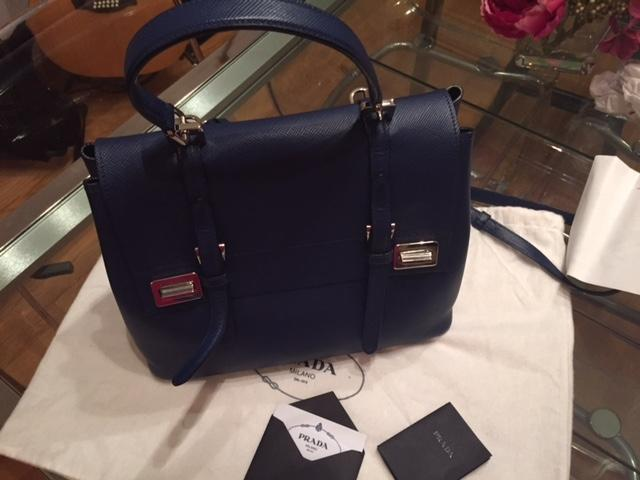 46b61cf53abd ... good prada top handle navy blue saffiano leather shoulder bag tradesy  aa211 edf37