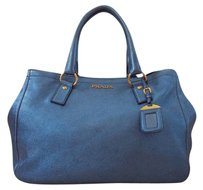 Prada Tote in Metallic Blue