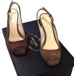 Prada Suede Includes Box Includes Dustbag Worn Once Like New dark brown Wedges