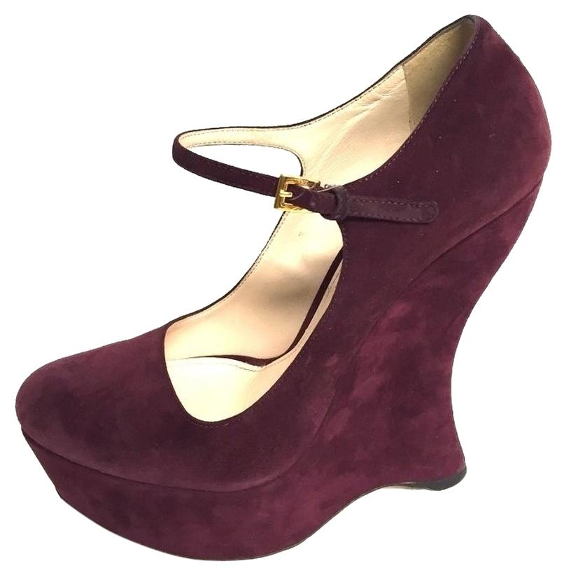 discount enjoy Prada Suede Round-Toe Wedges with credit card sale online manchester great sale for sale H84EOo4Kx2