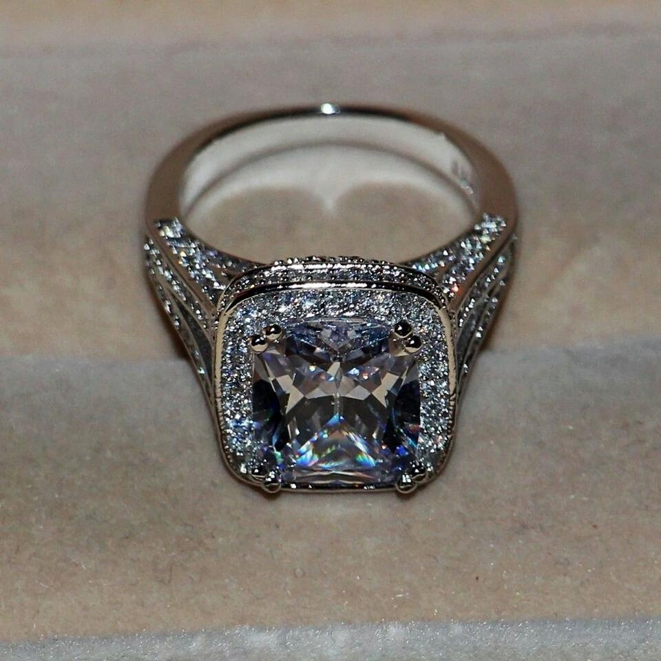 Size 4 5 6 7 8 9 4.5 5.5 6.5 7.5 8.5 9.5 8 Carat Nscd Sona Certified Lab Huge Diamond Vintage Engagement Ring