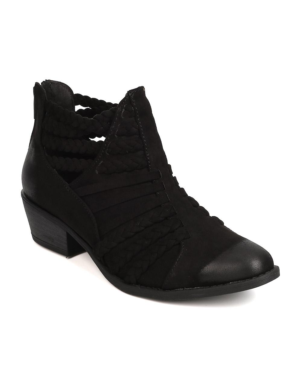 qupid sochi 87 faux suede ankle black boots on tradesy