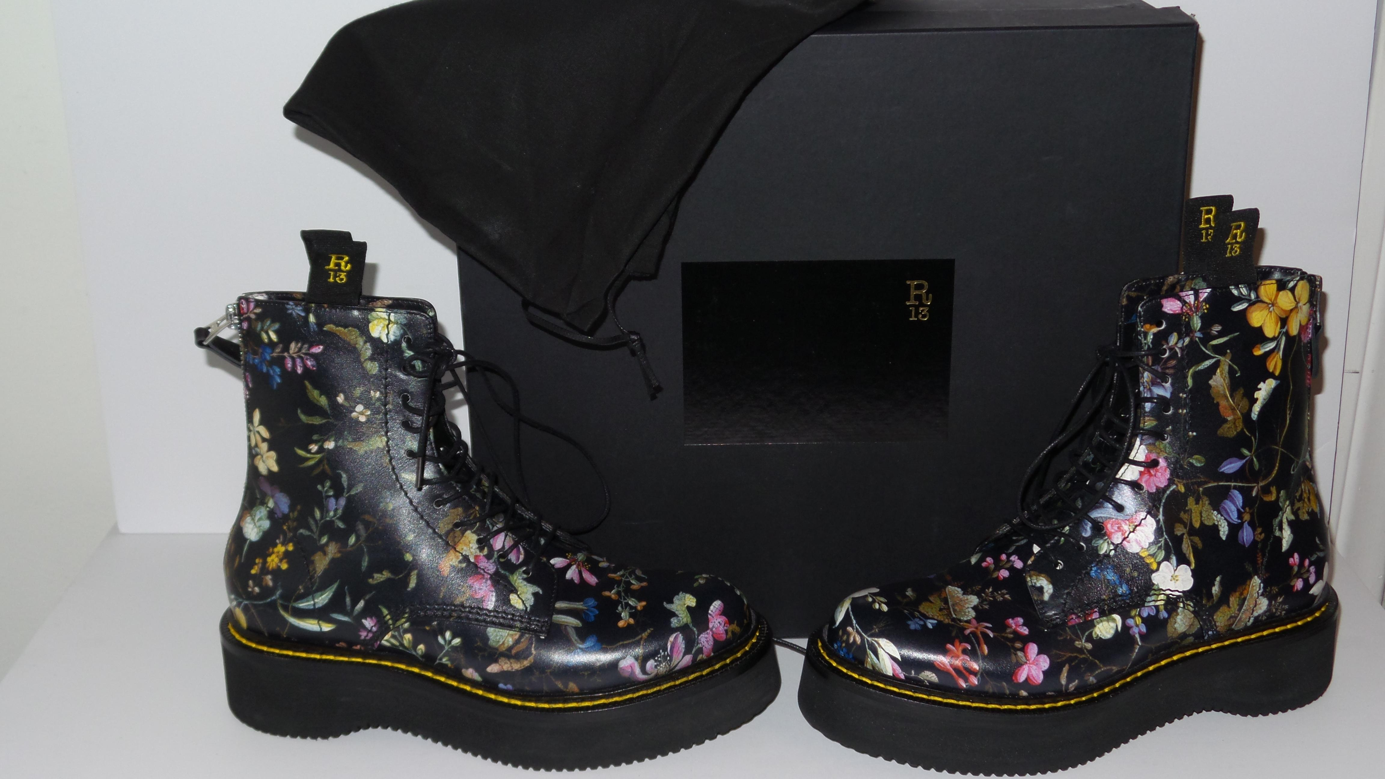 6d94c8e50cca ... R13 Black Multi Floral Leather Stack Stack Stack Flannel Combat Ankle  Boots Booties Size EU