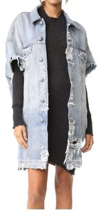 R13 Cutoff Raw Edges Time-worn Effect Luxury Denim Jacket Womens Jean Jacket