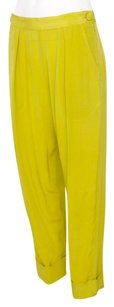 Rachel Comey Chartreuse Yellow Silk Crepe High Waist Cuffed Trouser Pants