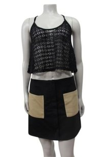 Rachel Roy Zipper Detail Pockets Mini Skirt Black beige