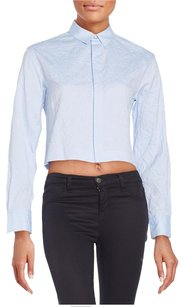 Rag & Bone Leila Buttondown Cropped Button Down Shirt Blue