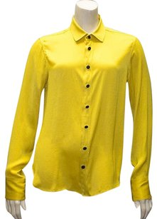 Rag & Bone Charmeuse Button Front Long Sleeve Hs228 Top Yellow