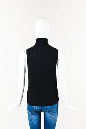 Ralph Lauren Black Label Black Cashmere Cable Knit Sleeveless Turtleneck outlet