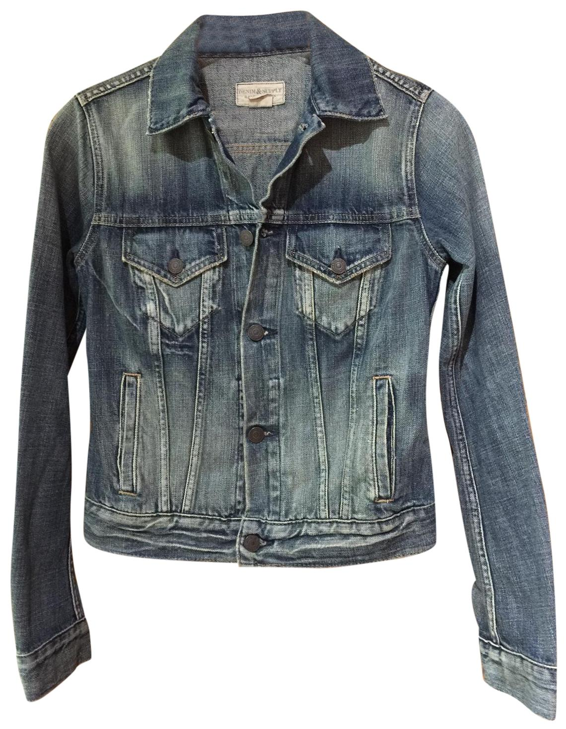 Ralph Lauren Boho Moto Blue Distressed Womens Jean Jacket ...