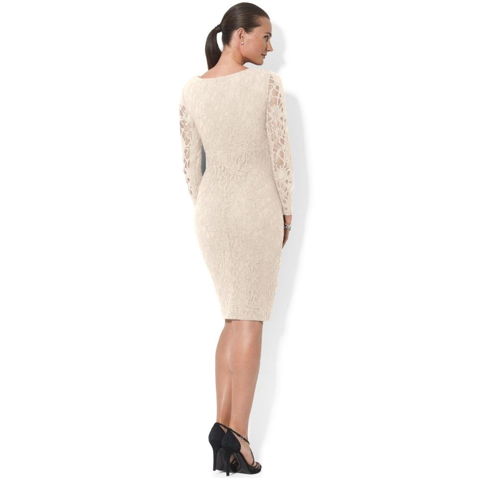 Knee Length Cocktail Dress Beige