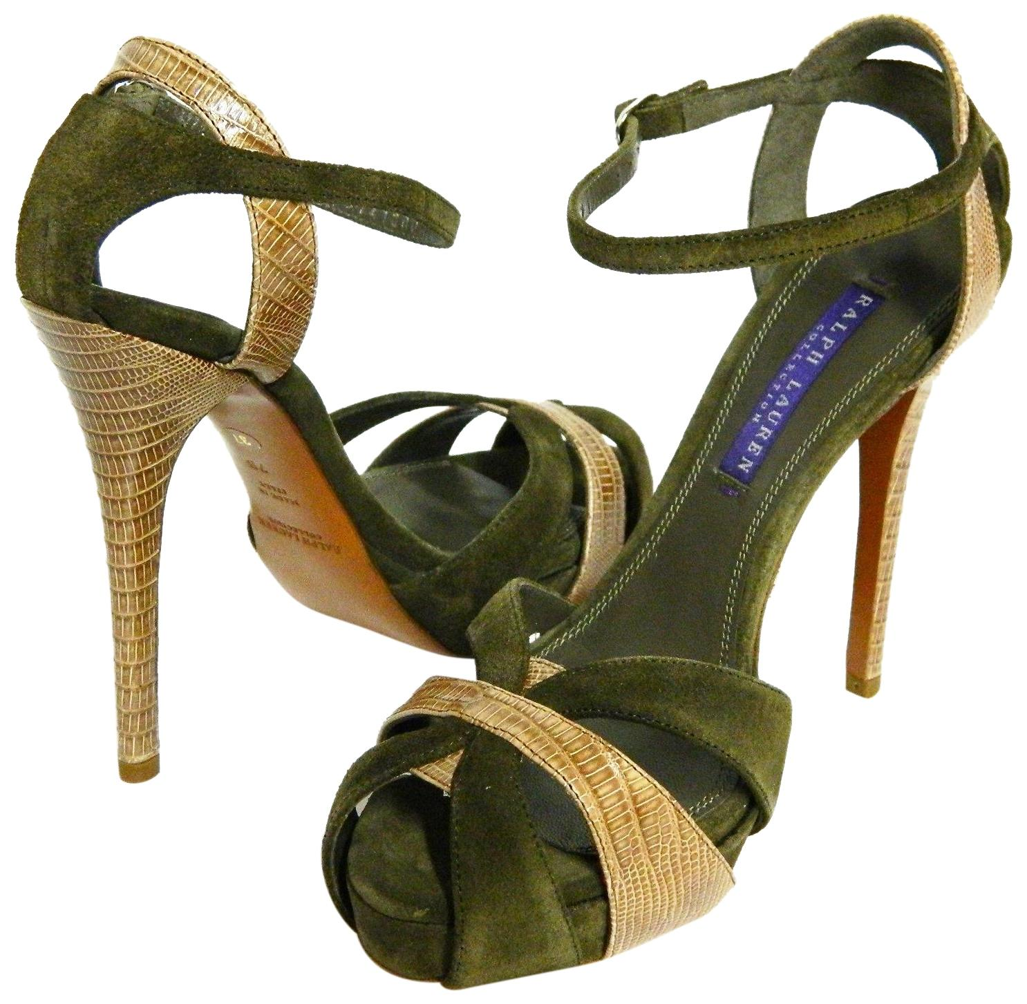Ralph Lauren Collection Calf Suede/Lizard Jeanette Suede/Lizard Sandals Size US 7 Regular (M, B)