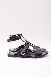 Ralph Lauren Collection Leather T Strap Gladiator Buckle Ankle 737 Black Sandals