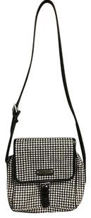 Ralph Lauren Black Ivory Houndstooth Buckle Detail B3471 Cross Body Bag