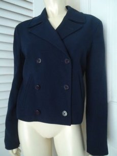 Ralph Lauren Ralph Lauren Blazer Navy Stretch Worsted Wool Double Breasted Lined Chic